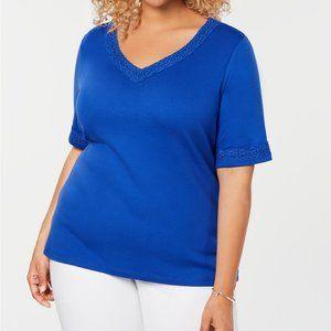 Karen Scott Plus Size Cotton Lace-Trim T-Shirt